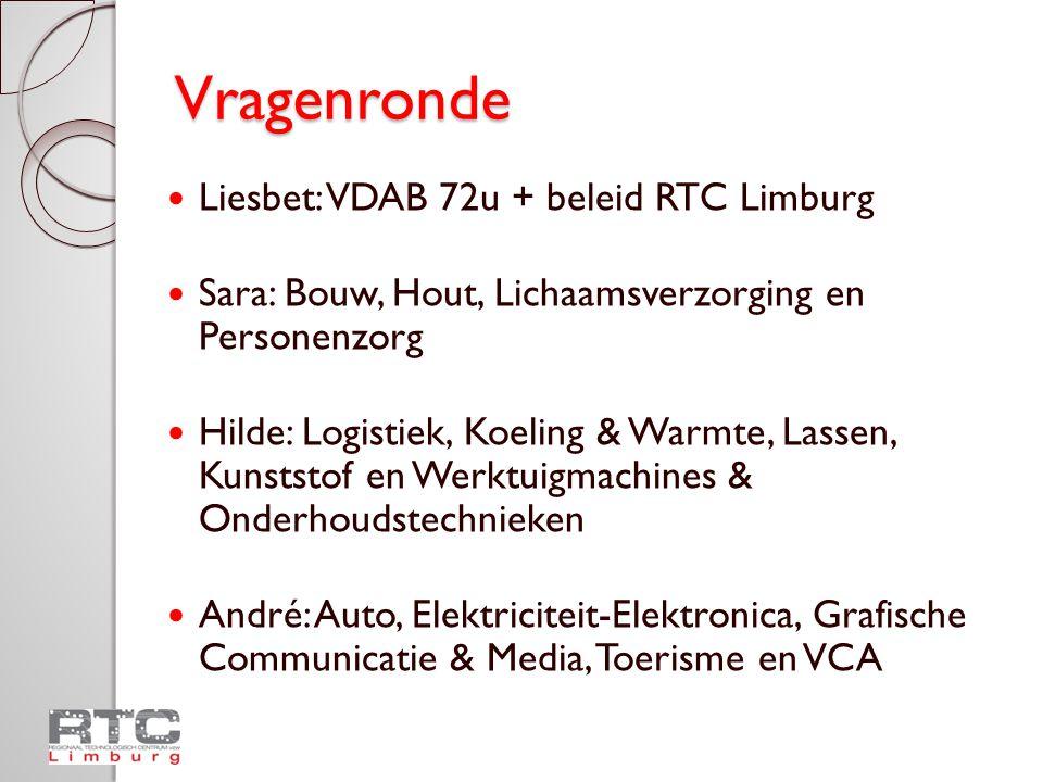 Vragenronde  Liesbet: VDAB 72u + beleid RTC Limburg  Sara: Bouw, Hout, Lichaamsverzorging en Personenzorg  Hilde: Logistiek, Koeling & Warmte, Lass