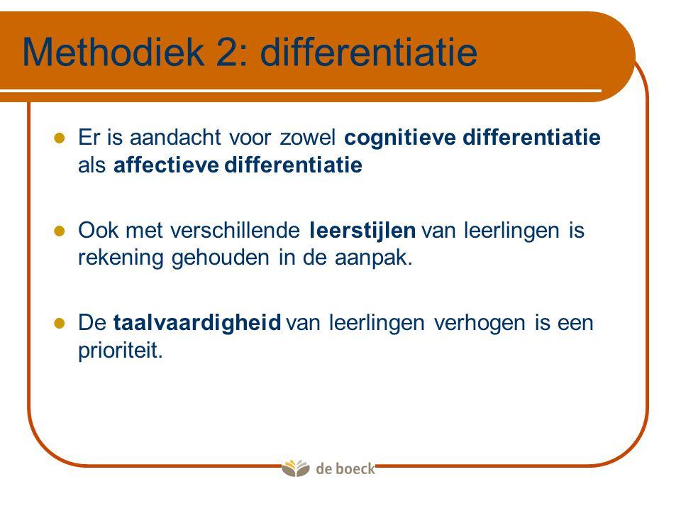 Voorbeelden:  De bouwplannen worden op twee manieren aangereikt:  Via de analytische vragen  Via het lezen van teksten  Presentatie rond een onderwerp dat je aanspreekt  Taal verwerven via tekst of schema Methodiek 2: differentiatie