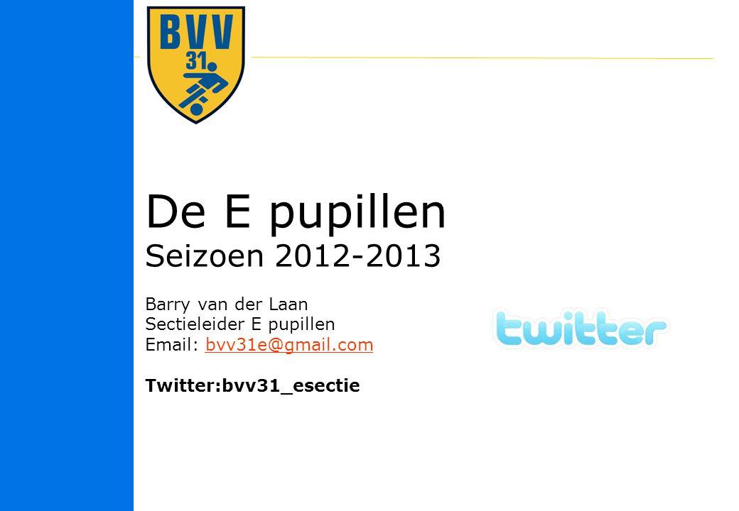 11 © 2010 De E pupillen Seizoen 2012-2013 Barry van der Laan Sectieleider E pupillen Email: bvv31e@gmail.combvv31e@gmail.com Twitter:bvv31_esectie
