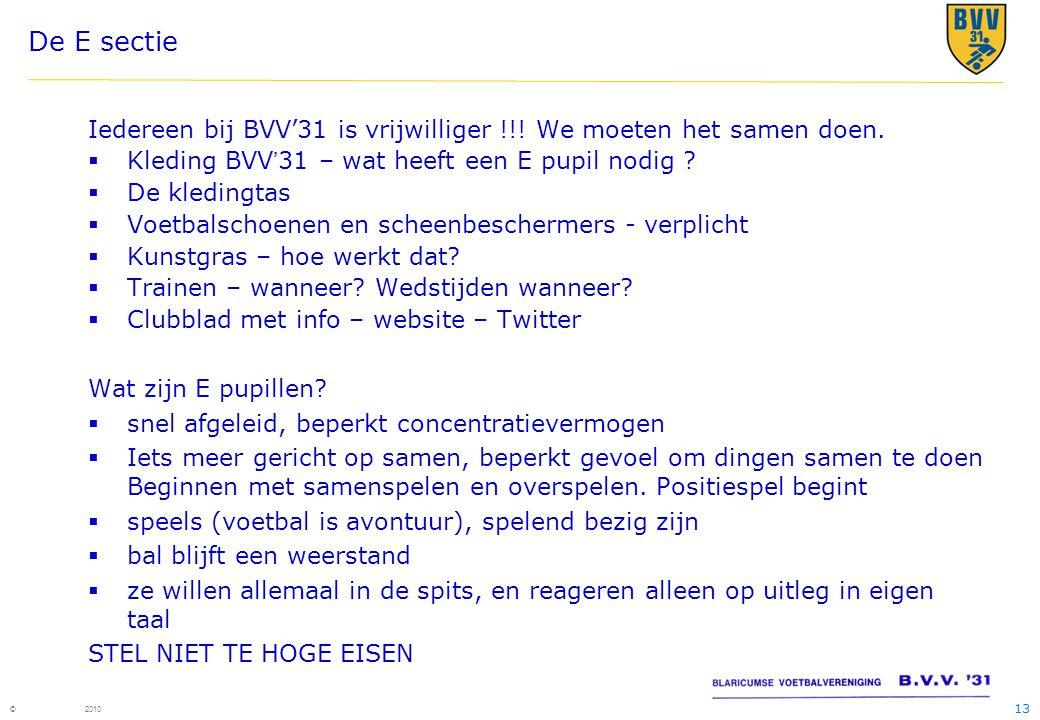 13 © 2010 De E sectie Iedereen bij BVV'31 is vrijwilliger !!.