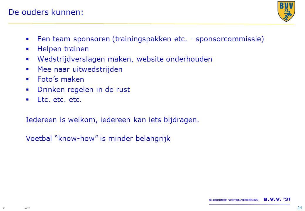 24 © 2010 De ouders kunnen:  Een team sponsoren (trainingspakken etc.