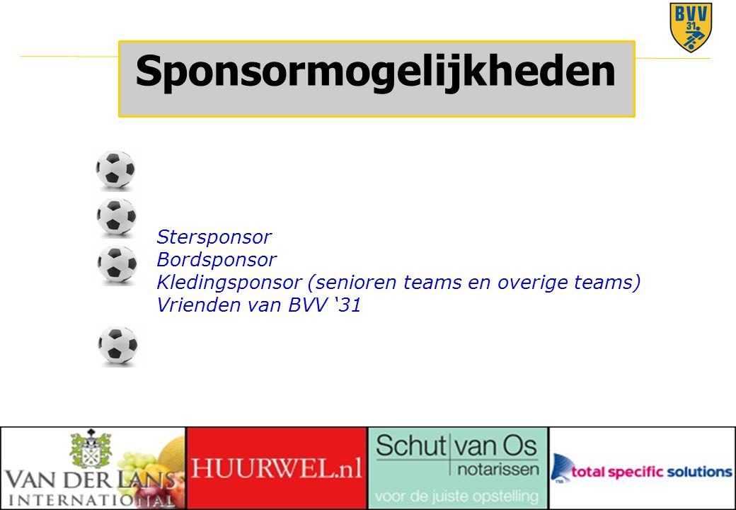28 © 2010 Sponsormogelijkheden Stersponsor Bordsponsor Kledingsponsor (senioren teams en overige teams) Vrienden van BVV '31