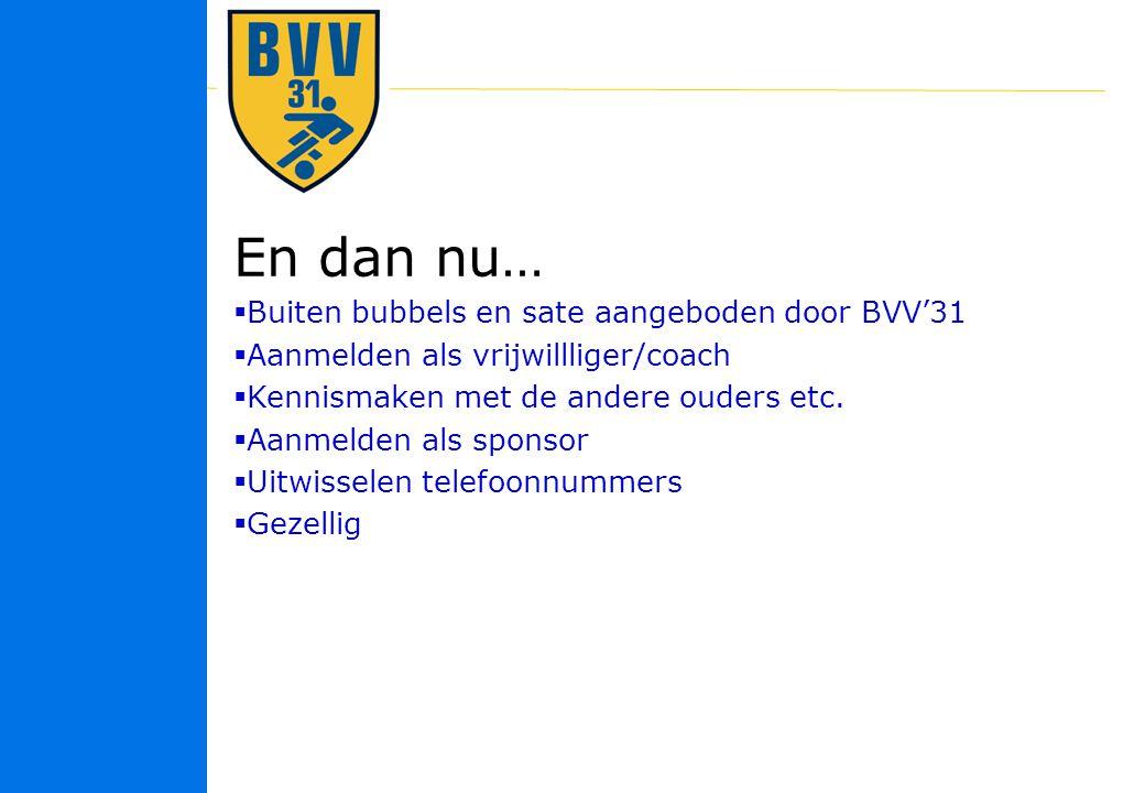 36 © 2010 En dan nu…  Buiten bubbels en sate aangeboden door BVV'31  Aanmelden als vrijwillliger/coach  Kennismaken met de andere ouders etc.