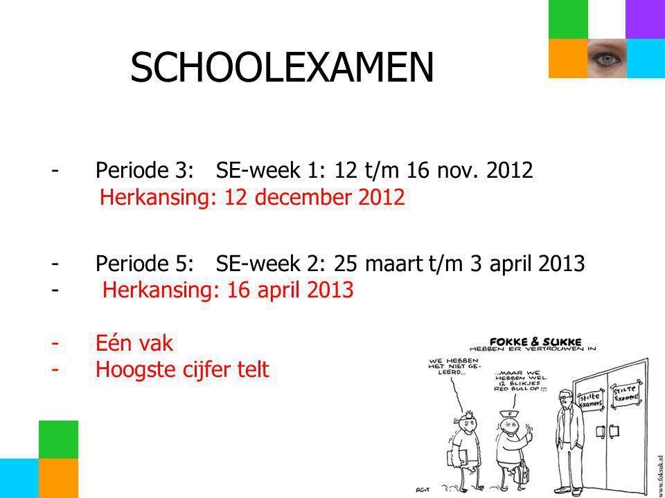 SCHOOLEXAMEN -Periode 3: SE-week 1: 12 t/m 16 nov.