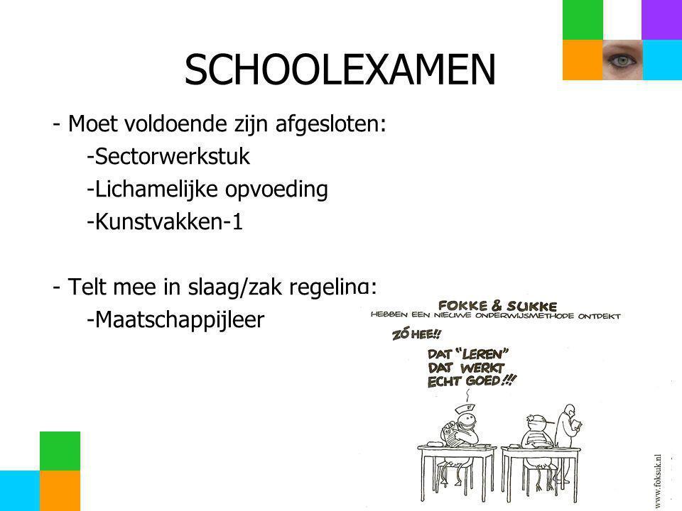 SCHOOLEXAMEN - Moet voldoende zijn afgesloten: -Sectorwerkstuk -Lichamelijke opvoeding -Kunstvakken-1 - Telt mee in slaag/zak regeling: -Maatschappijleer