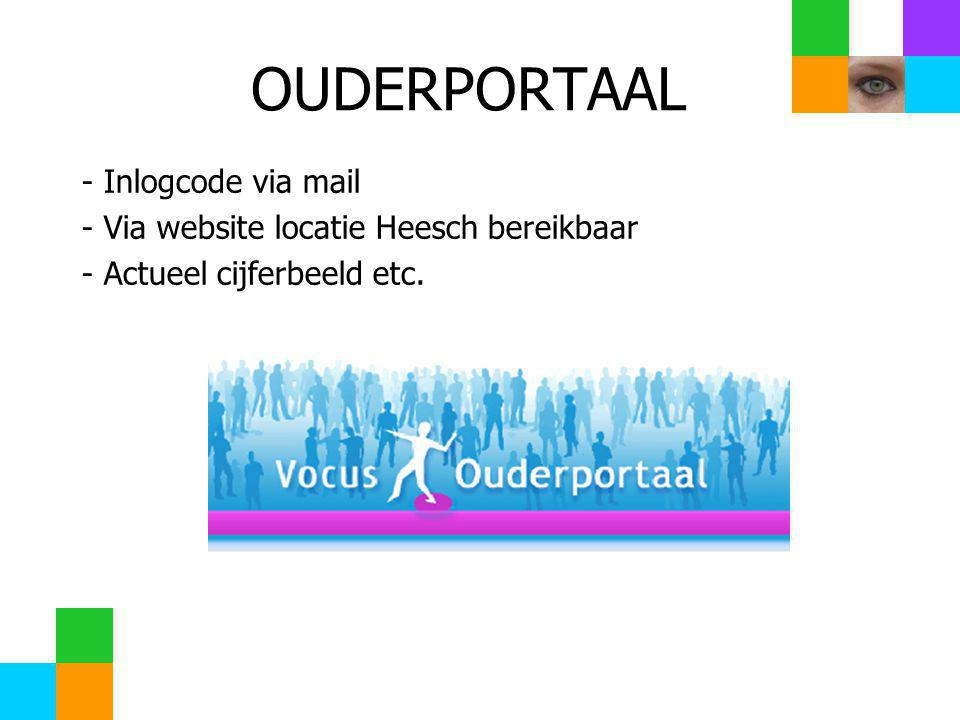 - Inlogcode via mail - Via website locatie Heesch bereikbaar - Actueel cijferbeeld etc.