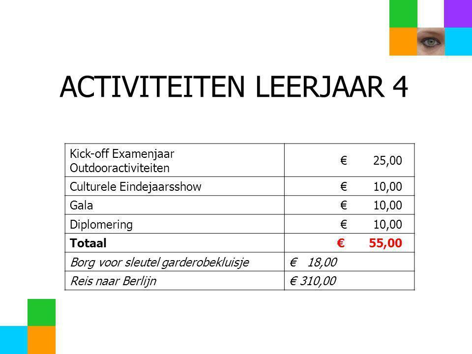 ACTIVITEITEN LEERJAAR 4 Kick-off Examenjaar Outdooractiviteiten € 25,00 Culturele Eindejaarsshow € 10,00 Gala € 10,00 Diplomering € 10,00 Totaal € 55,