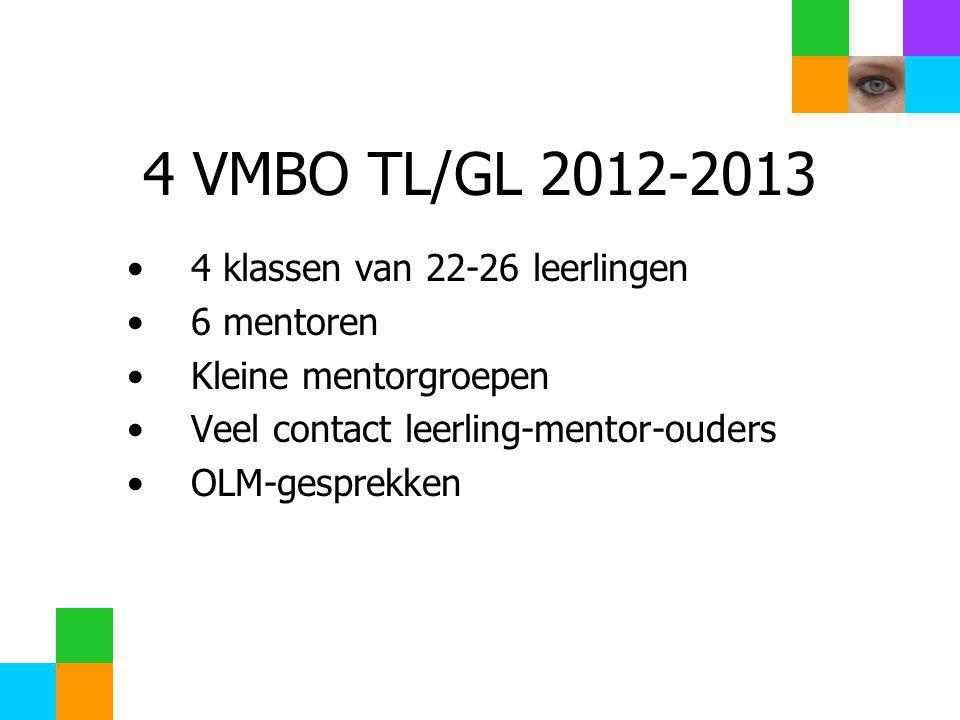4 VMBO TL/GL 2012-2013 •4 klassen van 22-26 leerlingen •6 mentoren •Kleine mentorgroepen •Veel contact leerling-mentor-ouders •OLM-gesprekken