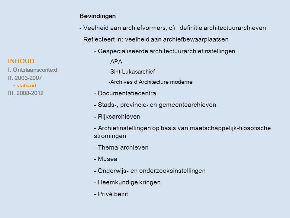 INHOUD I. Ontstaanscontext II. 2003-2007 ∙ stafkaart III. 2008-2012 Bevindingen - Veelheid aan archiefvormers, cfr. definitie architectuurarchieven -