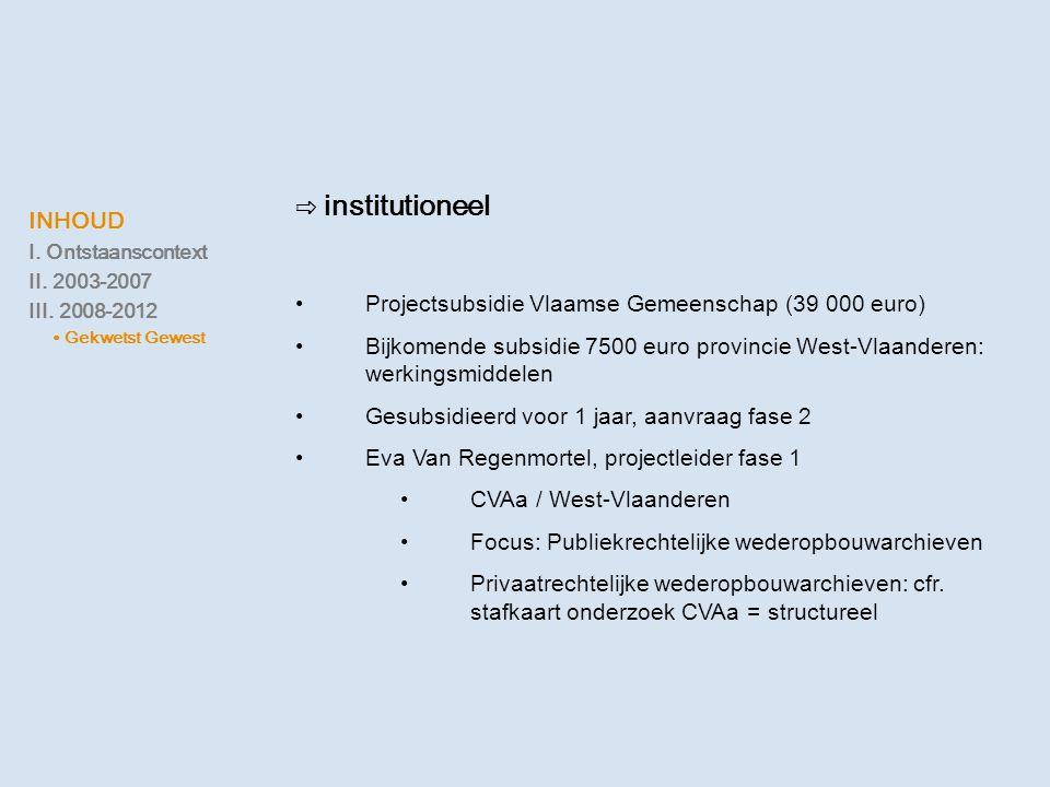 ⇨ institutioneel •Projectsubsidie Vlaamse Gemeenschap (39 000 euro) •Bijkomende subsidie 7500 euro provincie West-Vlaanderen: werkingsmiddelen •Gesubs