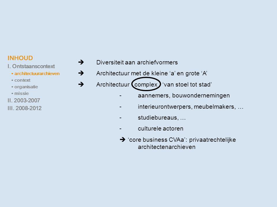 INHOUD I. Ontstaanscontext ∙ architectuurarchieven ∙ context ∙ organisatie ∙ missie II. 2003-2007 III. 2008-2012  Diversiteit aan archiefvormers  Ar