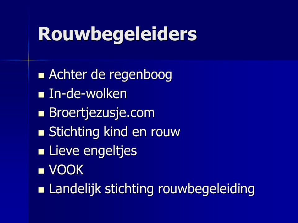 Rouwbegeleiders  Achter de regenboog  In-de-wolken  Broertjezusje.com  Stichting kind en rouw  Lieve engeltjes  VOOK  Landelijk stichting rouwbegeleiding