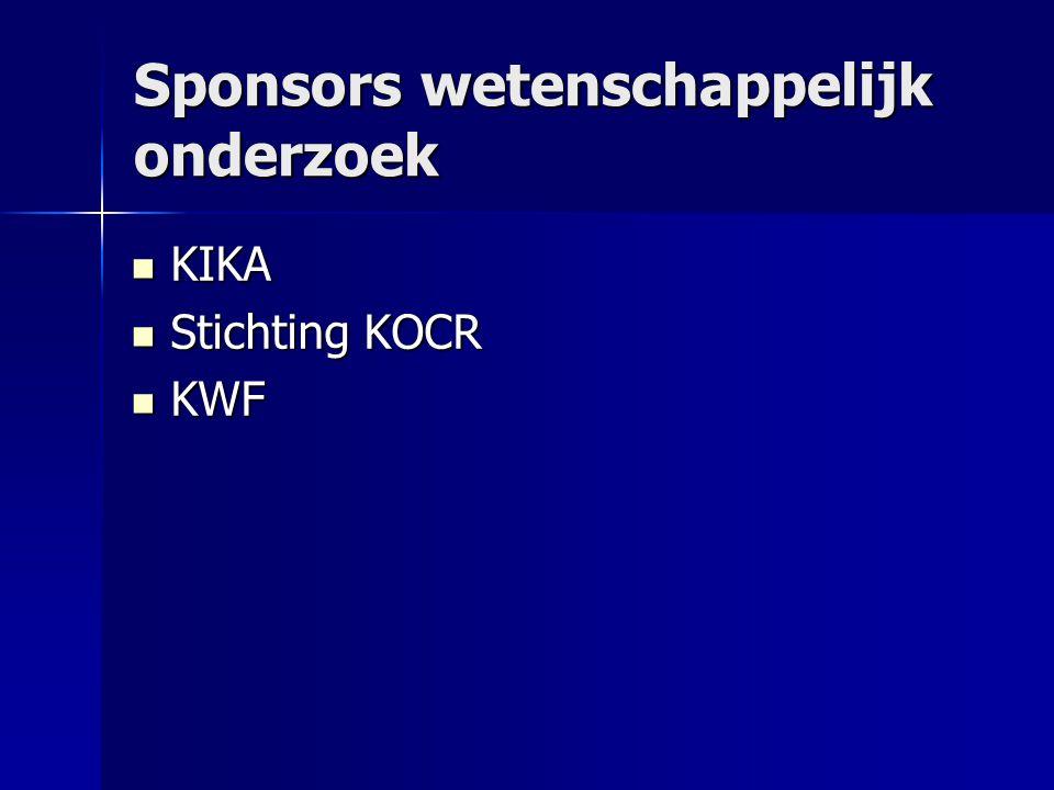 Sponsors wetenschappelijk onderzoek  KIKA  Stichting KOCR  KWF