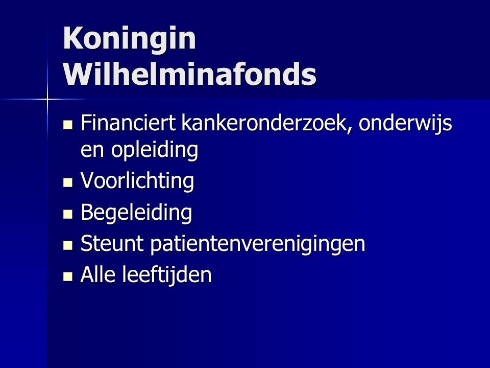Koningin Wilhelminafonds  Financiert kankeronderzoek, onderwijs en opleiding  Voorlichting  Begeleiding  Steunt patientenverenigingen  Alle leeftijden