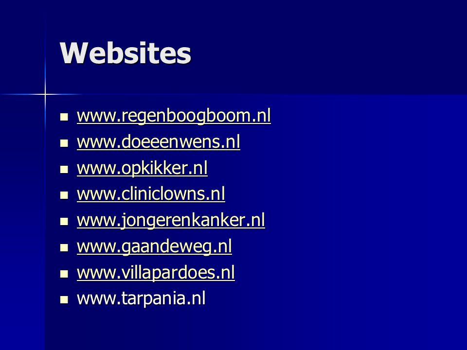 Websites  www.regenboogboom.nl www.regenboogboom.nl  www.doeeenwens.nl www.doeeenwens.nl  www.opkikker.nl www.opkikker.nl  www.cliniclowns.nl www.cliniclowns.nl  www.jongerenkanker.nl www.jongerenkanker.nl  www.gaandeweg.nl www.gaandeweg.nl  www.villapardoes.nl www.villapardoes.nl  www.tarpania.nl