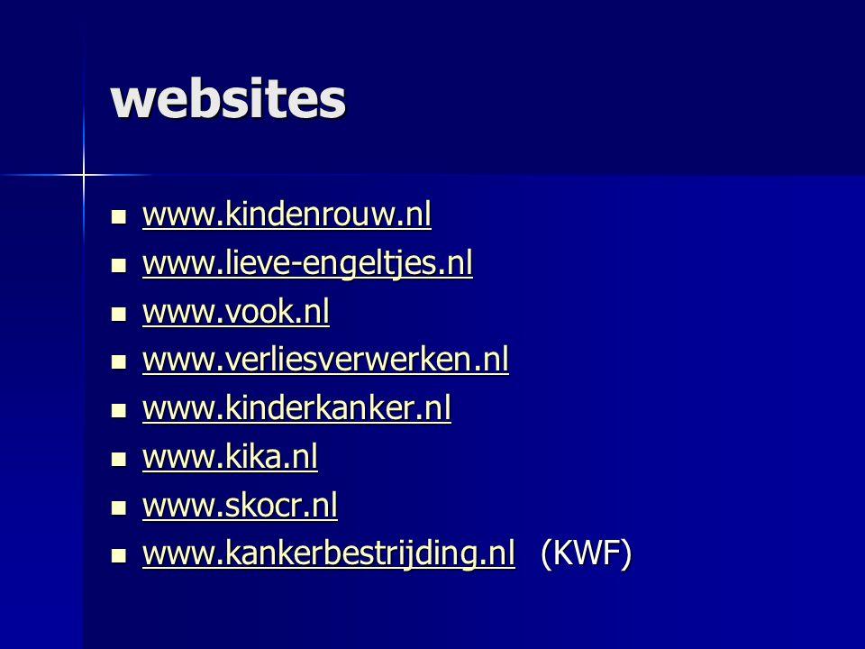 websites  www.kindenrouw.nl www.kindenrouw.nl  www.lieve-engeltjes.nl www.lieve-engeltjes.nl  www.vook.nl www.vook.nl  www.verliesverwerken.nl www.verliesverwerken.nl  www.kinderkanker.nl www.kinderkanker.nl  www.kika.nl www.kika.nl  www.skocr.nl www.skocr.nl  www.kankerbestrijding.nl (KWF) www.kankerbestrijding.nl