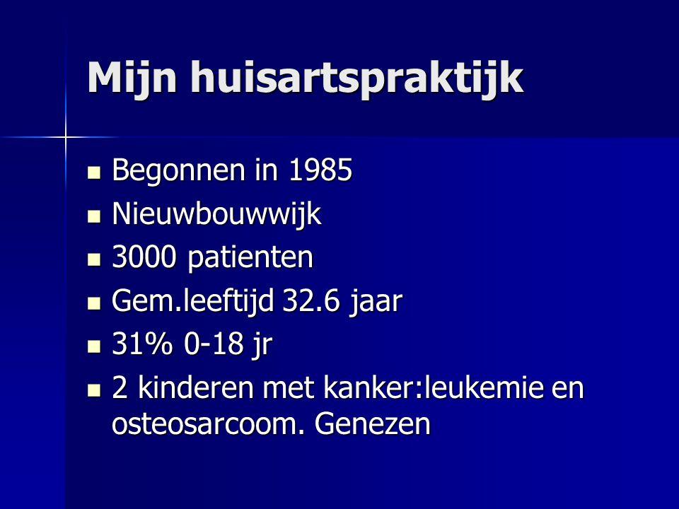 Mijn huisartspraktijk  Begonnen in 1985  Nieuwbouwwijk  3000 patienten  Gem.leeftijd 32.6 jaar  31% 0-18 jr  2 kinderen met kanker:leukemie en osteosarcoom.