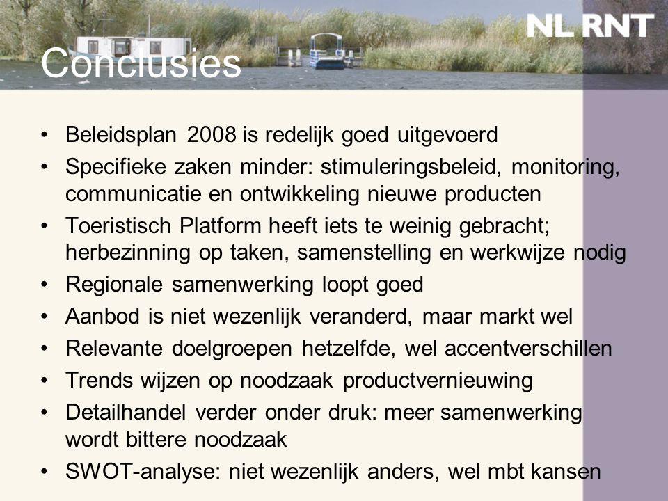 Conclusies •Beleidsplan 2008 is redelijk goed uitgevoerd •Specifieke zaken minder: stimuleringsbeleid, monitoring, communicatie en ontwikkeling nieuwe