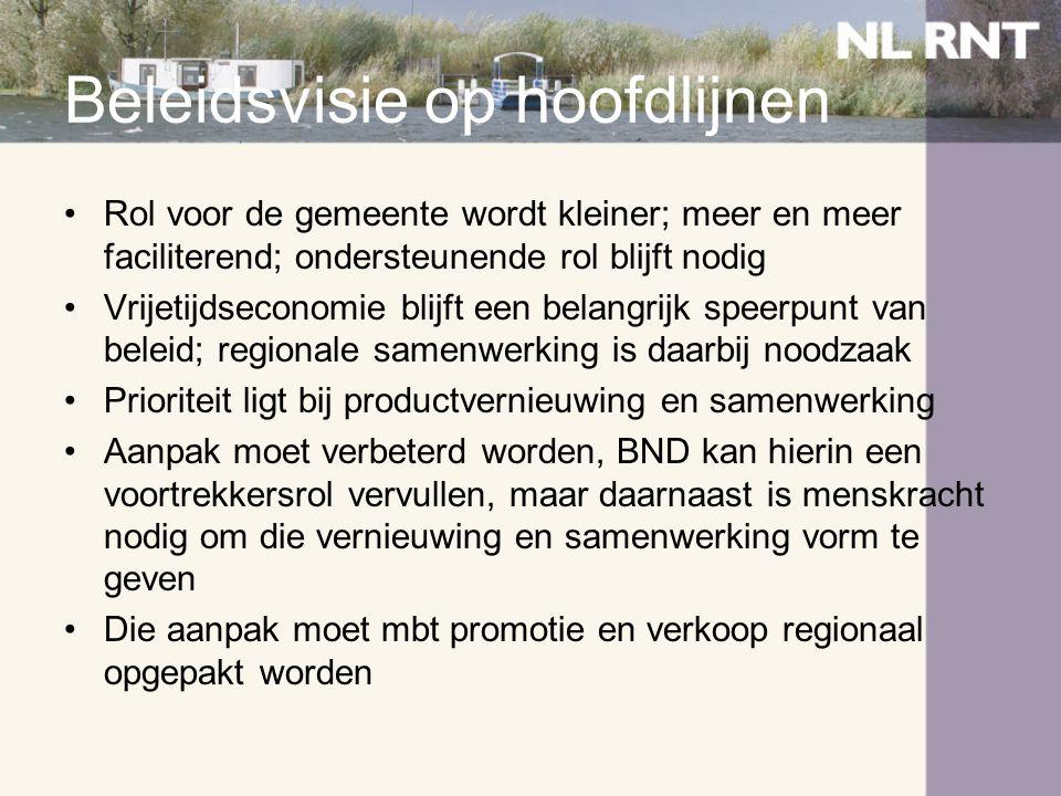 Beleidsvisie op hoofdlijnen •Rol voor de gemeente wordt kleiner; meer en meer faciliterend; ondersteunende rol blijft nodig •Vrijetijdseconomie blijft