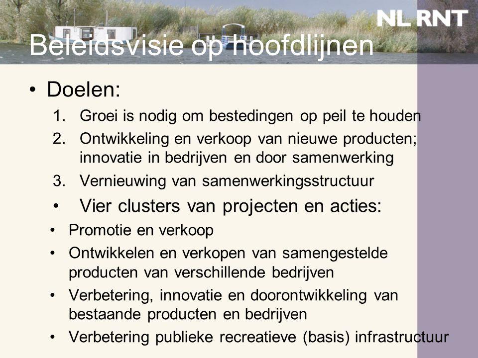 Beleidsvisie op hoofdlijnen •Doelen: 1.Groei is nodig om bestedingen op peil te houden 2.Ontwikkeling en verkoop van nieuwe producten; innovatie in be