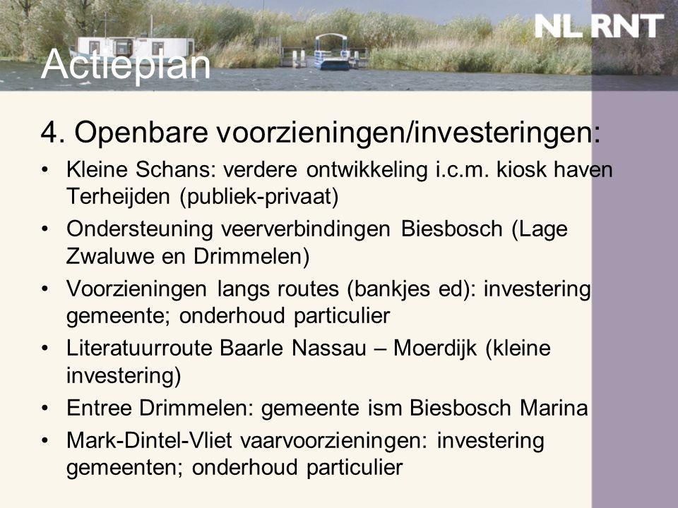 Actieplan 4. Openbare voorzieningen/investeringen: •Kleine Schans: verdere ontwikkeling i.c.m. kiosk haven Terheijden (publiek-privaat) •Ondersteuning
