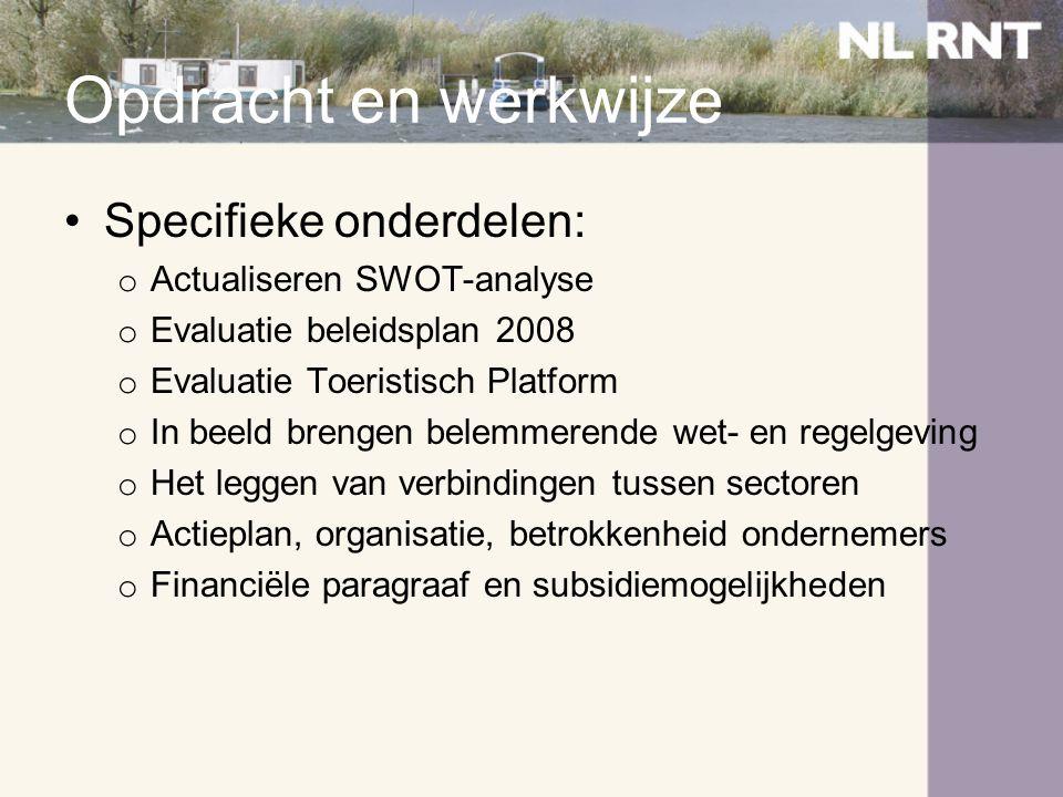 Beleidsanalyse 1.Provinciaal: nadruk op versterking aanbod, nieuwe producten, cross-overs en gastvrijheid; Geld voor: proces, onderzoek, kennis en marketing 2.Biesbosch: streeft naar Top 3 NP, voorbeeld van duurzaam toerisme, ambassadeurs, professionele organisatie; verbreding aanbod (verblijf en attracties) 3.West-Brabant: routenetwerken, Brabant aan Zee, samenwerking en aansturing 4.Lokaal: •DPO: uit 2002, maar ruimtelijk geen verandering; meer aandacht nodig voor organisatie en samenwerking •Structuurvisie: uit 2003, gedateerd mbt woningbouw, detailhandel, r&t; watersport is niet meer de rode draad voor recreatie; de hele sector is nodig •Ruimtelijke ontwikkelingsvisie: oude haven, parkeren, koppeling met dorp en entrees dienen verbeterd te worden
