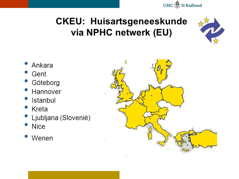 CKEU: Huisartsgeneeskunde via NPHC netwerk (EU) • Ankara • Gent • Göteborg • Hannover • Istanbul • Kreta • Ljubljana (Slovenië) • Nice • Wenen