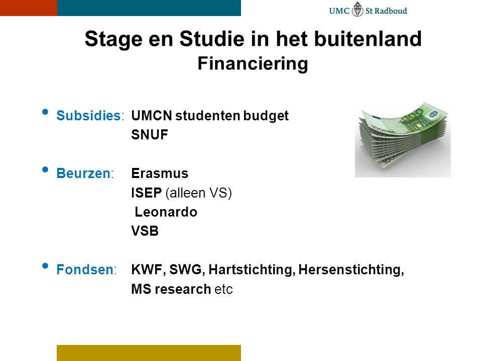 Stage en Studie in het buitenland Financiering • Subsidies: UMCN studenten budget SNUF • Beurzen: Erasmus ISEP (alleen VS) Leonardo VSB • Fondsen:KWF,