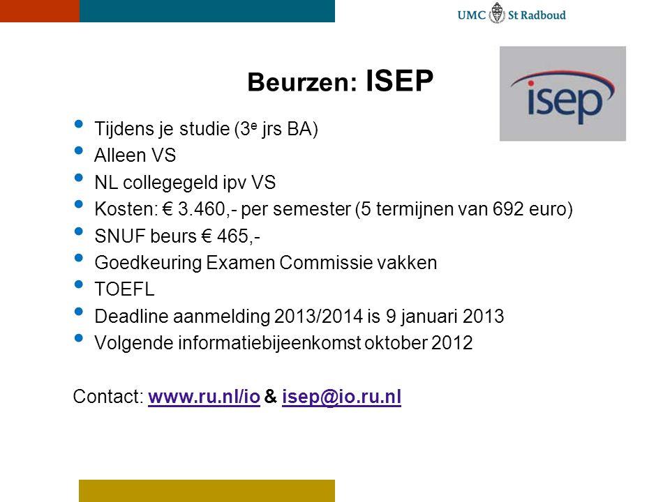 • Tijdens je studie (3 e jrs BA) • Alleen VS • NL collegegeld ipv VS • Kosten: € 3.460,- per semester (5 termijnen van 692 euro) • SNUF beurs € 465,-
