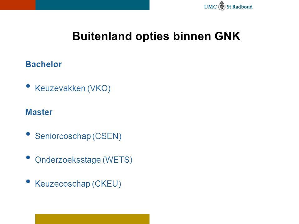 Buitenland opties binnen GNK Bachelor • Keuzevakken (VKO) Master • Seniorcoschap (CSEN) • Onderzoeksstage (WETS) • Keuzecoschap (CKEU)