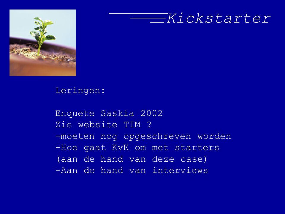 Kickstarter Leringen: Enquete Saskia 2002 Zie website TIM ? -moeten nog opgeschreven worden -Hoe gaat KvK om met starters (aan de hand van deze case)