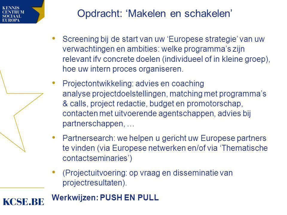 • Screening bij de start van uw 'Europese strategie' van uw verwachtingen en ambities: welke programma's zijn relevant ifv concrete doelen (individueel of in kleine groep), hoe uw intern proces organiseren.