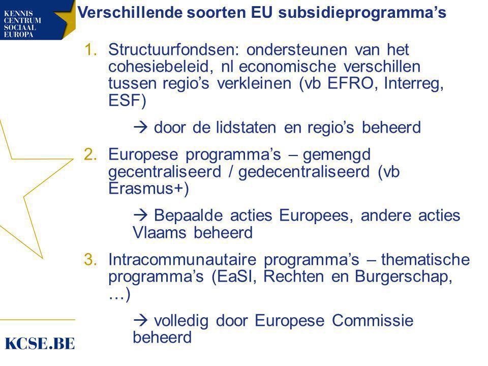 Verschillende soorten EU subsidieprogramma's 1.Structuurfondsen: ondersteunen van het cohesiebeleid, nl economische verschillen tussen regio's verkleinen (vb EFRO, Interreg, ESF)  door de lidstaten en regio's beheerd 2.Europese programma's – gemengd gecentraliseerd / gedecentraliseerd (vb Erasmus+)  Bepaalde acties Europees, andere acties Vlaams beheerd 3.Intracommunautaire programma's – thematische programma's (EaSI, Rechten en Burgerschap, …)  volledig door Europese Commissie beheerd