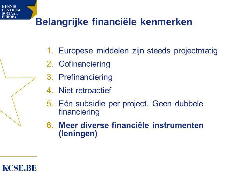 Belangrijke financiële kenmerken 1.Europese middelen zijn steeds projectmatig 2.Cofinanciering 3.Prefinanciering 4.Niet retroactief 5.Eén subsidie per project.