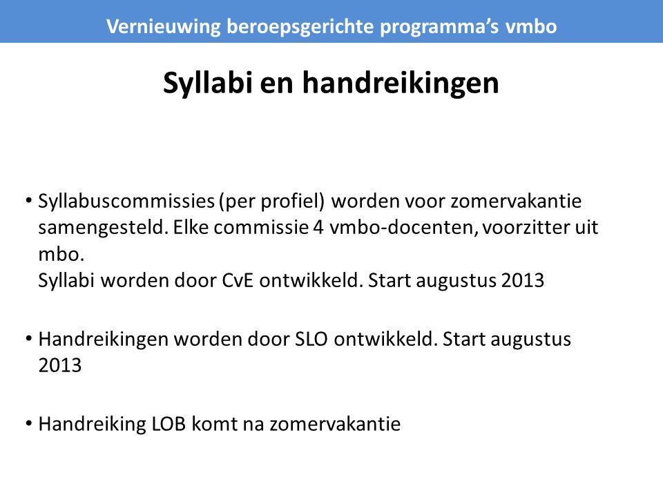 Syllabi en handreikingen • Syllabuscommissies (per profiel) worden voor zomervakantie samengesteld. Elke commissie 4 vmbo-docenten, voorzitter uit mbo