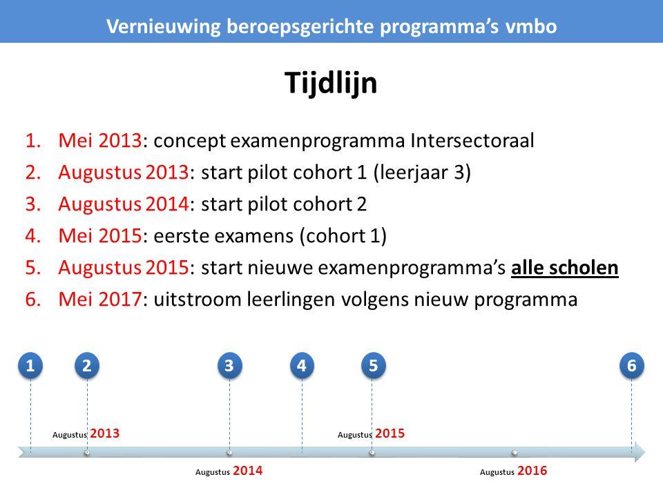 Tijdlijn 1.Mei 2013: concept examenprogramma Intersectoraal 2.Augustus 2013: start pilot cohort 1 (leerjaar 3) 3.Augustus 2014: start pilot cohort 2 4