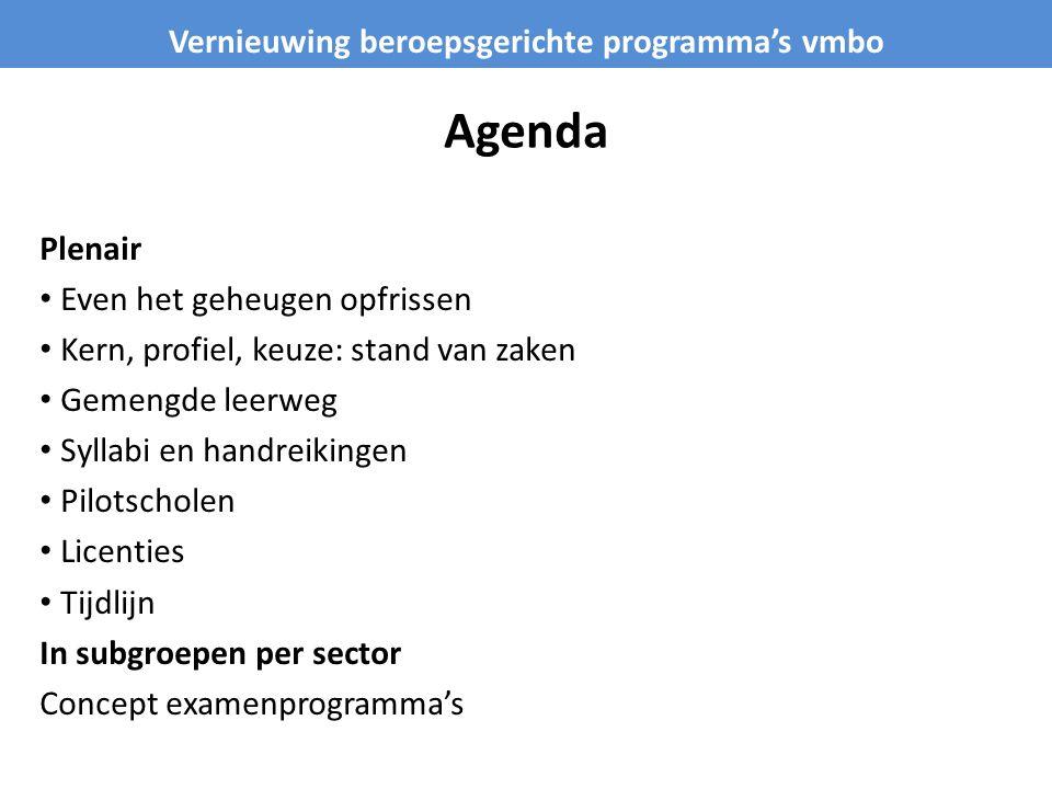 Agenda Plenair • Even het geheugen opfrissen • Kern, profiel, keuze: stand van zaken • Gemengde leerweg • Syllabi en handreikingen • Pilotscholen • Li