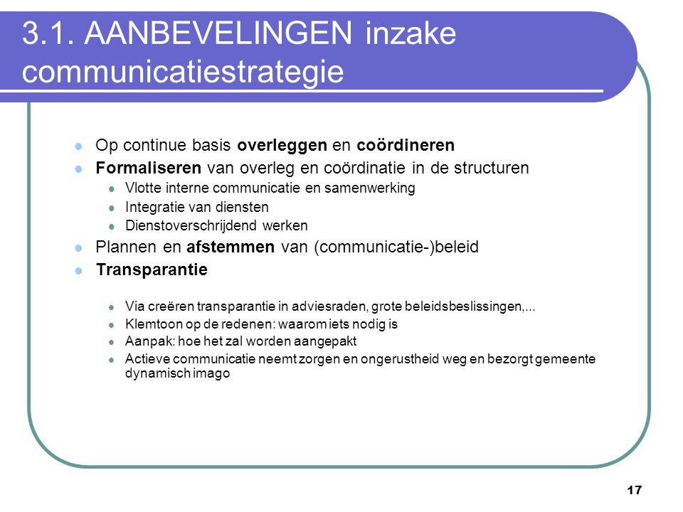 17 3.1. AANBEVELINGEN inzake communicatiestrategie  Op continue basis overleggen en coördineren  Formaliseren van overleg en coördinatie in de struc