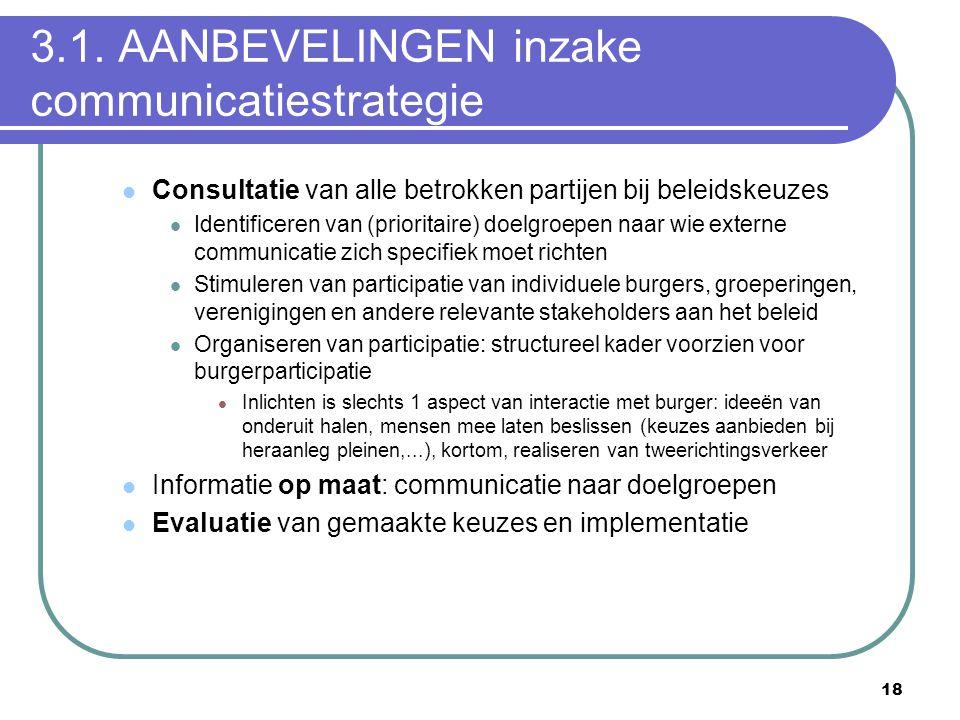 18 3.1. AANBEVELINGEN inzake communicatiestrategie  Consultatie van alle betrokken partijen bij beleidskeuzes  Identificeren van (prioritaire) doelg