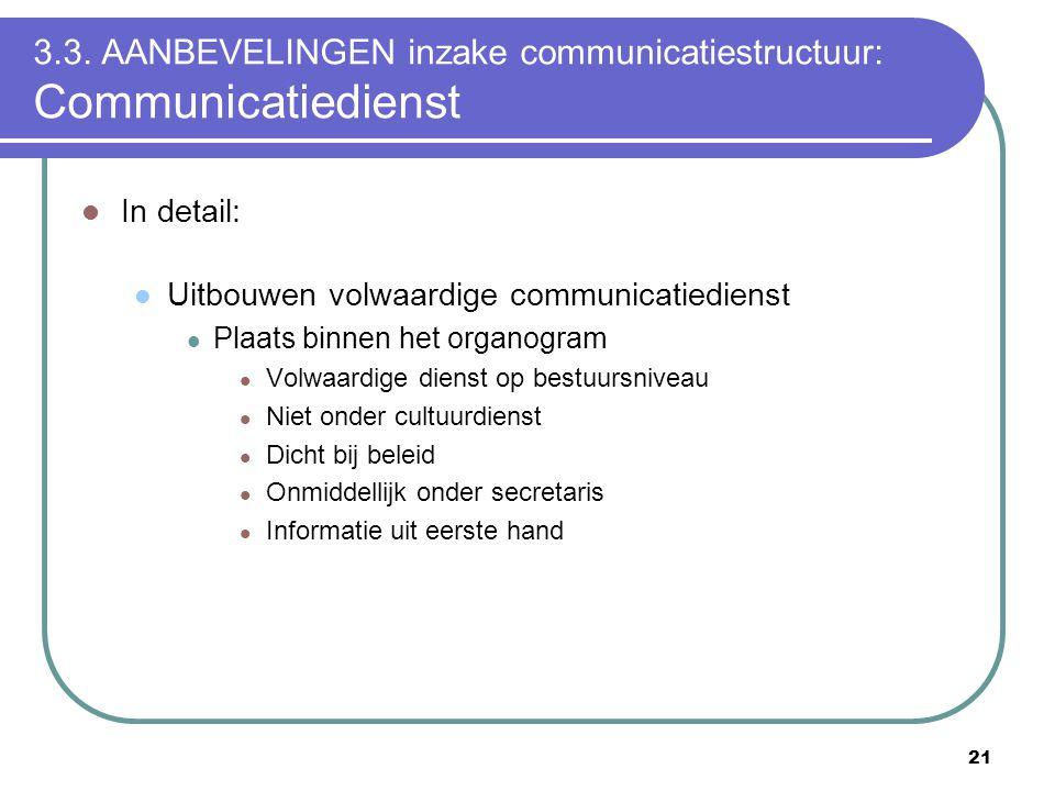 21 3.3. AANBEVELINGEN inzake communicatiestructuur: Communicatiedienst  In detail:  Uitbouwen volwaardige communicatiedienst  Plaats binnen het org