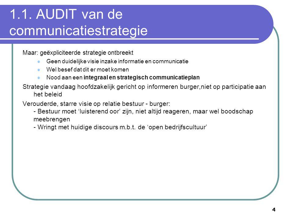 4 1.1. AUDIT van de communicatiestrategie Maar: geëxpliciteerde strategie ontbreekt  Geen duidelijke visie inzake informatie en communicatie  Wel be