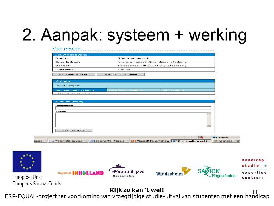 11 Kijk zo kan 't wel! ESF-EQUAL-project ter voorkoming van vroegtijdige studie-uitval van studenten met een handicap Europese Unie Europees Sociaal F