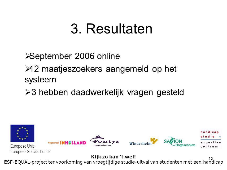 13 Kijk zo kan 't wel! ESF-EQUAL-project ter voorkoming van vroegtijdige studie-uitval van studenten met een handicap Europese Unie Europees Sociaal F