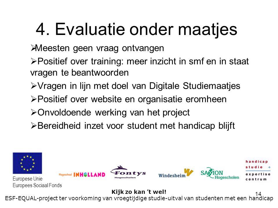 14 Kijk zo kan 't wel! ESF-EQUAL-project ter voorkoming van vroegtijdige studie-uitval van studenten met een handicap Europese Unie Europees Sociaal F