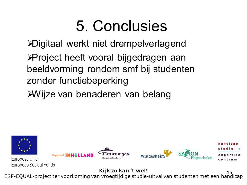 15 Kijk zo kan 't wel! ESF-EQUAL-project ter voorkoming van vroegtijdige studie-uitval van studenten met een handicap Europese Unie Europees Sociaal F