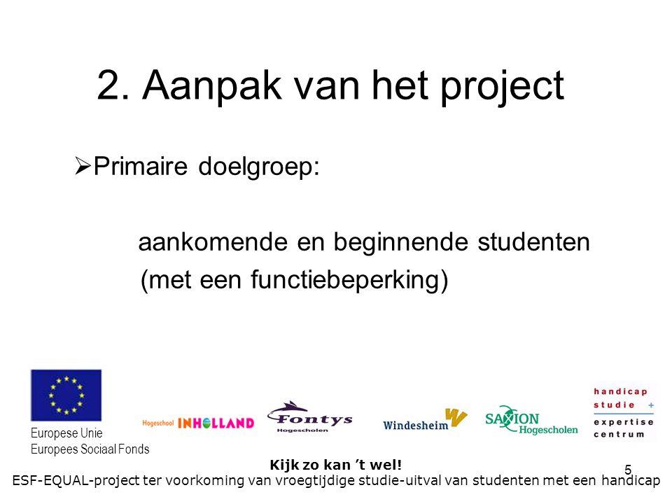 5 Kijk zo kan 't wel! ESF-EQUAL-project ter voorkoming van vroegtijdige studie-uitval van studenten met een handicap Europese Unie Europees Sociaal Fo