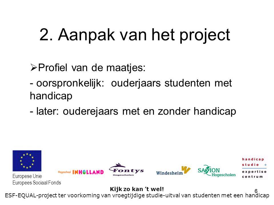 6 Kijk zo kan 't wel! ESF-EQUAL-project ter voorkoming van vroegtijdige studie-uitval van studenten met een handicap Europese Unie Europees Sociaal Fo