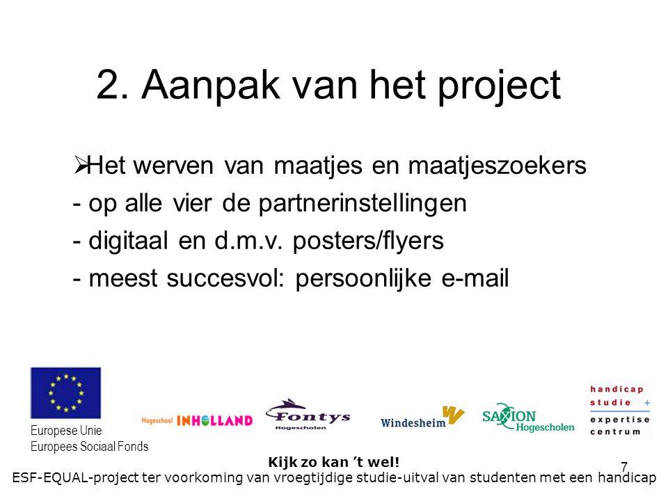 7 Kijk zo kan 't wel! ESF-EQUAL-project ter voorkoming van vroegtijdige studie-uitval van studenten met een handicap Europese Unie Europees Sociaal Fo