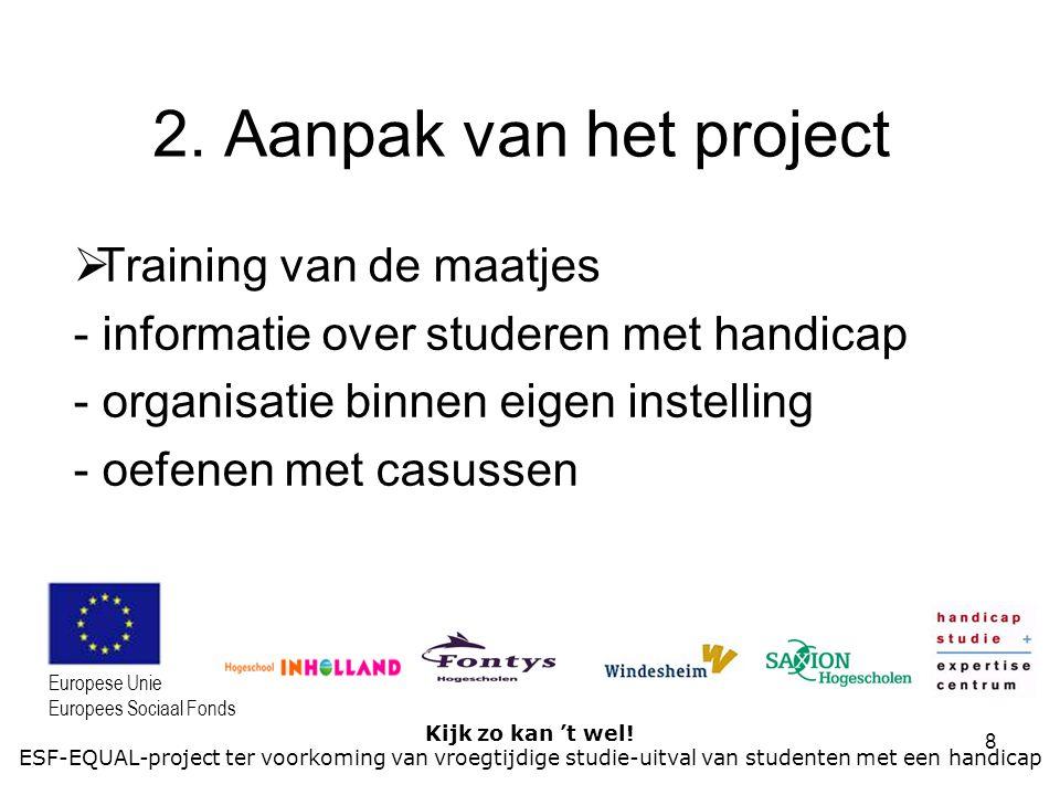 8 Kijk zo kan 't wel! ESF-EQUAL-project ter voorkoming van vroegtijdige studie-uitval van studenten met een handicap Europese Unie Europees Sociaal Fo