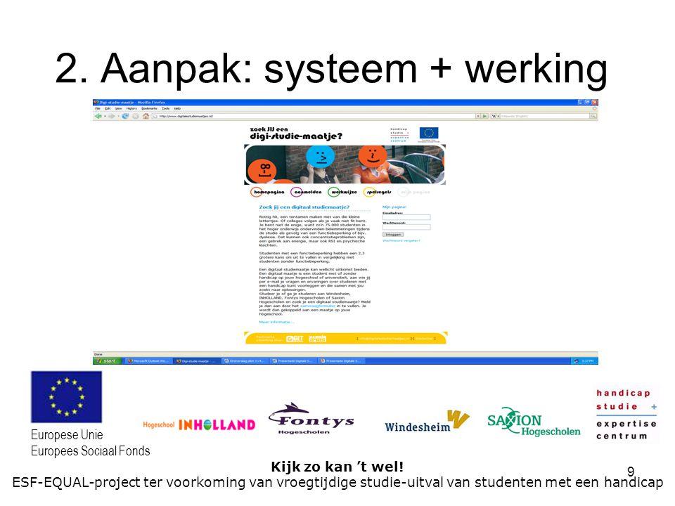 9 Kijk zo kan 't wel! ESF-EQUAL-project ter voorkoming van vroegtijdige studie-uitval van studenten met een handicap Europese Unie Europees Sociaal Fo